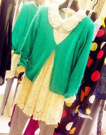 绿色兔毛开衫