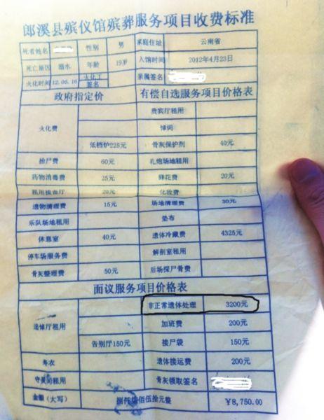 郎溪县殡仪馆给童先生开具的部分收费单。