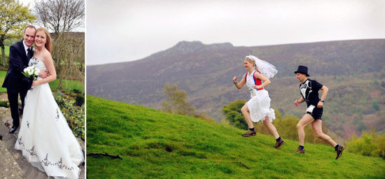 新郎新娘越野5英里登高结婚