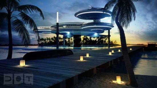 迪拜十星海底酒店一半位于水上,一半位于水下。