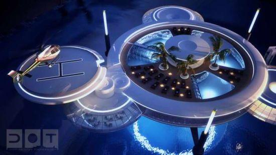迪拜海底酒店的设计图。酒店大厅位于一个巨大的游泳池的中心。