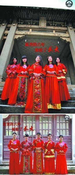 武大5名女硕士生的系列毕业照
