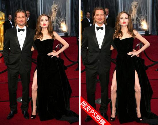 安吉丽娜-朱莉(Angelina Jolie)在奥斯卡上伸出大腿的造型被网友恶搞