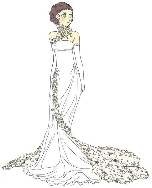 手绘公主婚纱图片