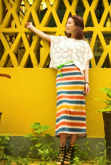 达人变星记镂空钩花罩衫搭配渐变色长裙