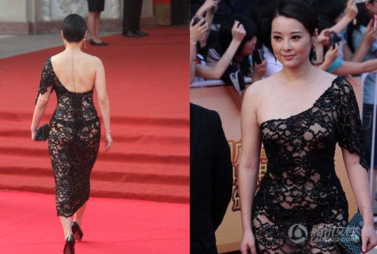 袁立镂空完全透视的单肩礼裙