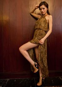 小豹纹长裙