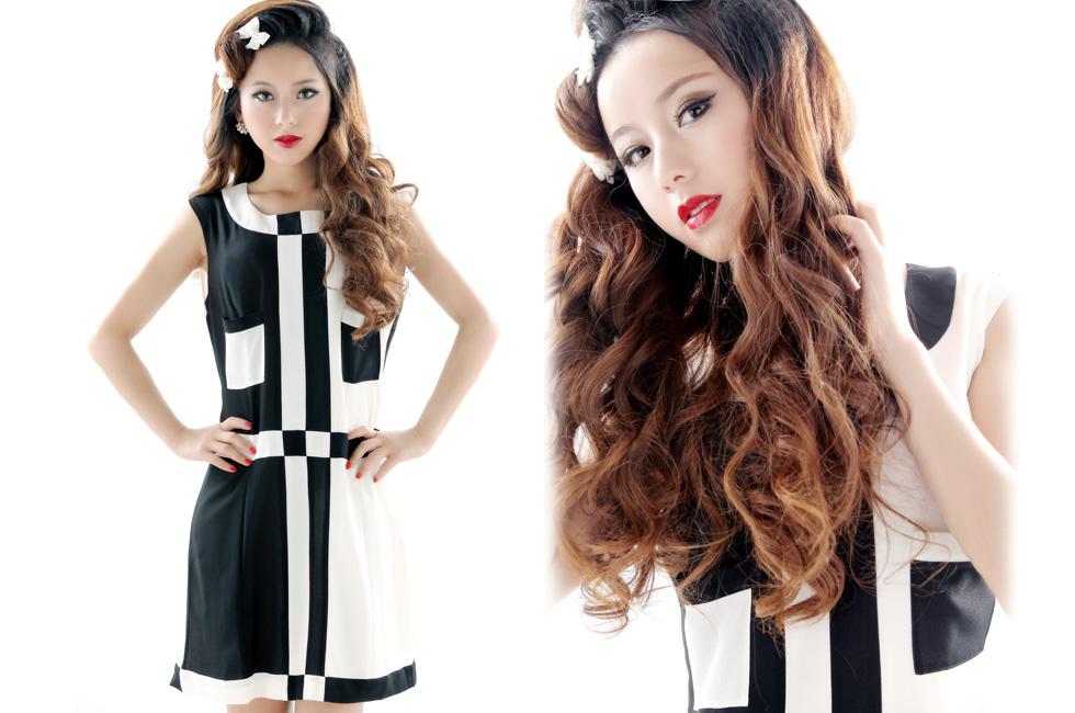 达人变星记:他们都说我像佟丽娅-黑白复古连衣裙