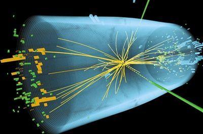 探测器捕抓的一次质子团对撞瞬间的复原图