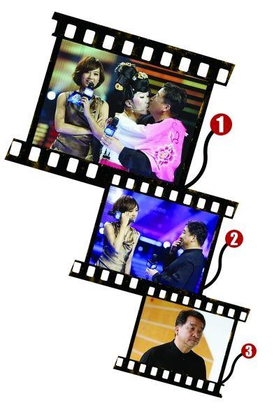图一,姜昆(右)被男选手强吻。图二,姜昆很尴尬。图三,传姜昆黑面离场。
