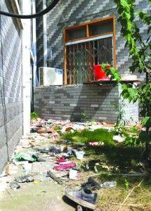 房子后面遍地垃圾