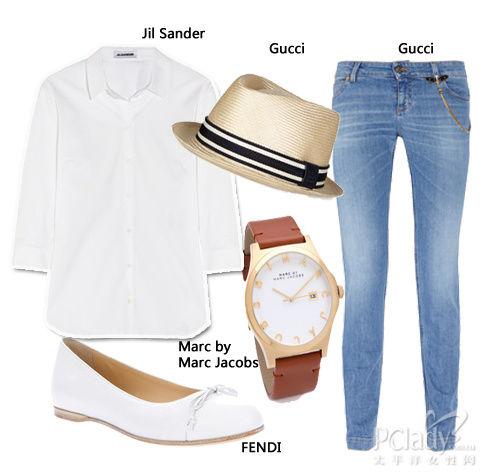 白衬衫+牛仔裤+白色芭蕾舞鞋-吴佩慈7月最新私搭 甜美系欧美范驾驭自