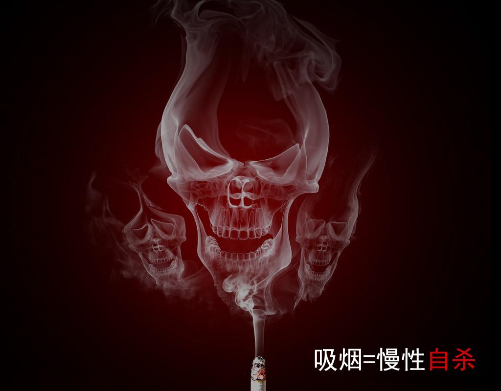 骷髅吸烟铅笔画