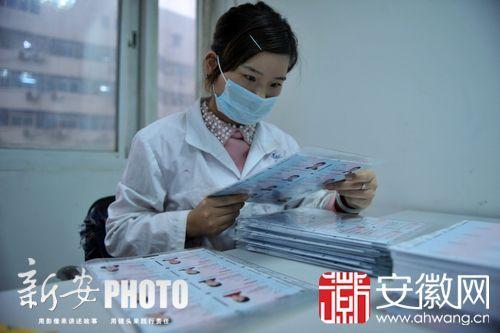 美女工作人员都在紧张地进行膜与卡体预定位工作。