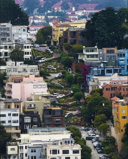 伦巴第街道,旧金山,加利福尼亚