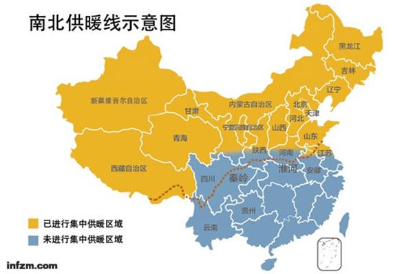 中国南北供暖线示意图,图片来自《南方周末》