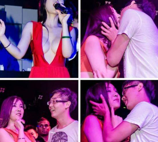 干露露与新加坡阔男接吻
