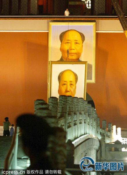 天安门城楼更换新毛主席像