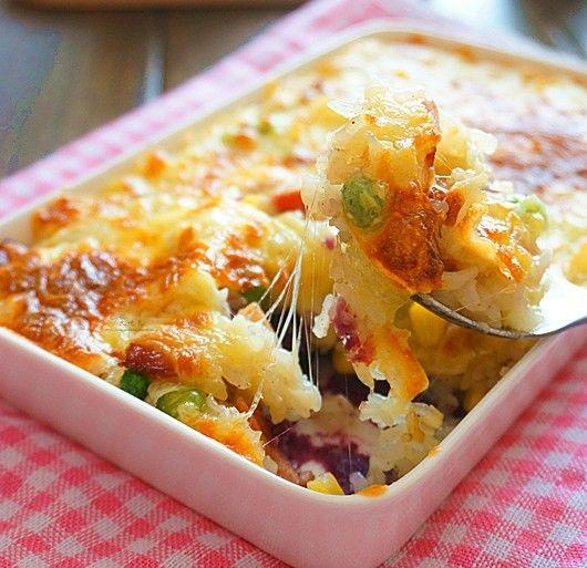 芝士紫薯培根焗饭