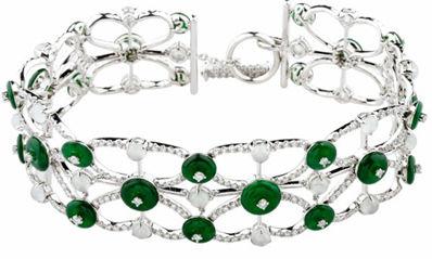白色18K金翡翠钻石手链 (零售价210,770元)