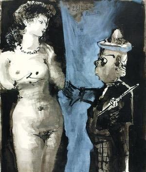 油画《小丑与裸女》