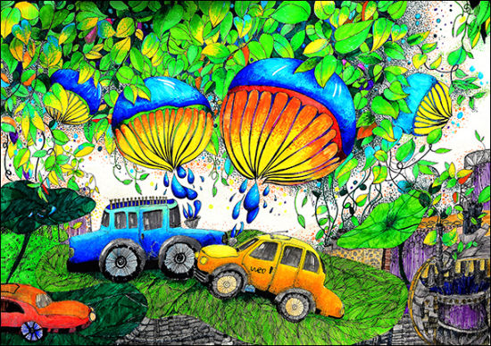 科学幻想绘画作品_儿童科学幻想绘画作品图片