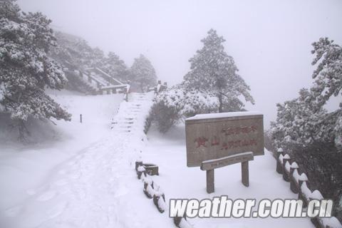 昨天,黄山风景区被皑皑白雪覆盖。