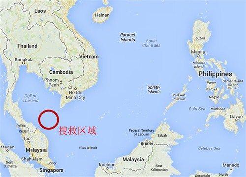 马航失联客机搜救区域示意图