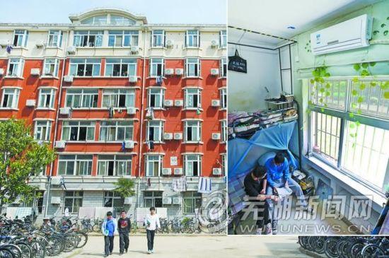 已经安装空调的大学生宿舍。