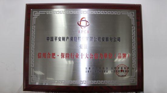 """平安产险安徽分公司:荣获""""信用合肥·保险行业十大公信力单位"""