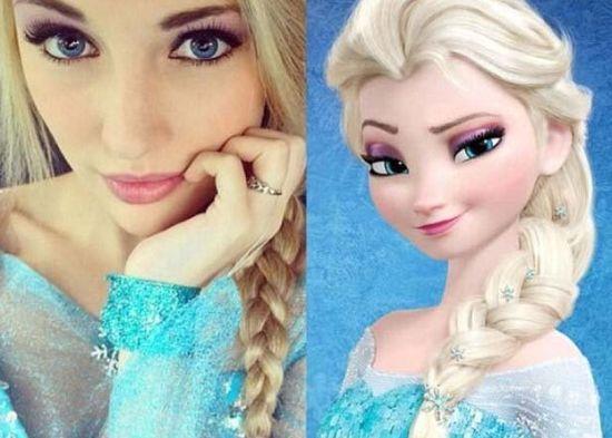 美国少女酷似迪士尼冰雪女王艾莎爆红图