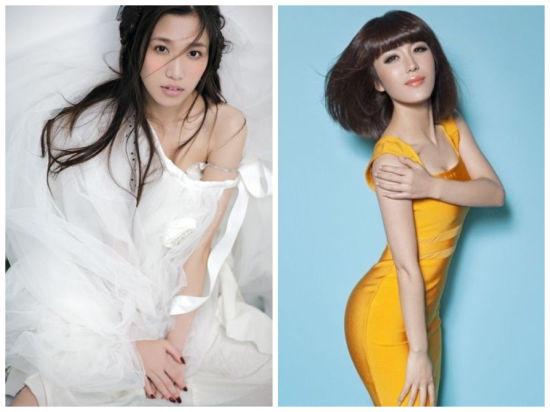 原唱胡杨林(左)与新主唱胡杨琳,原名桂莹莹(右)