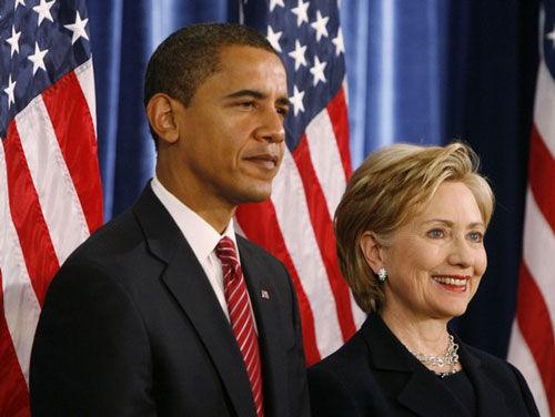 美国总统奥巴马和前国务卿希拉里·克林顿。