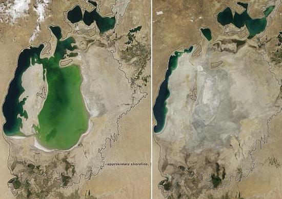 图中所示为2000年和2014年的咸海对比图。
