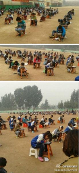 小学生重雾霾里露天考试