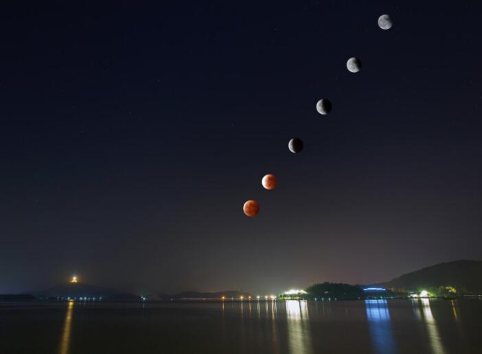 网友自拍最美红月亮