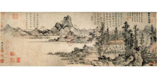 山水画也有一定造诣,在师法宋元基础上