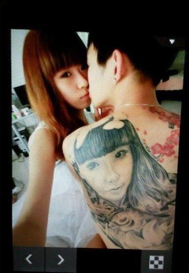台湾男子背上纹女友脸庞网友称:太强大了!